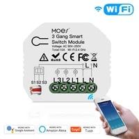 Tuya     Mini interrupteur intelligent wi-fi  3 boutons  1 2 voies  controle par application  fonctionne avec Alexa Google Home