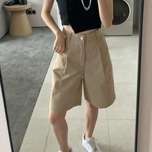 Work Clothes Shorts 2021 Thin High Waist Straight Tube Wide Leg Thin Capri Pants Neutral Style Short