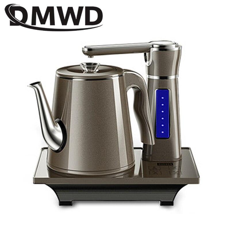 DMWD Home tetera eléctrica completamente automática set de Tetera 0.8L de acero inoxidable de seguridad dispensador de agua automático samovar estufa de bombeo
