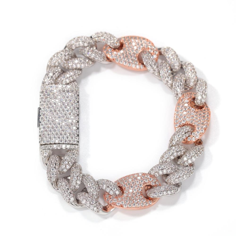 Hot Selling 16Mm Miami New Box Clasp Cuban Link Chain Gold Silver Color Bracelet Iced Out Cubic Zirconia Bling Hip Hop Jewelry