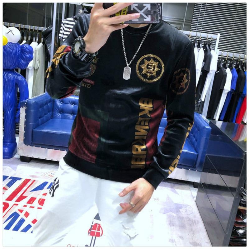 European Station Autumn Winter Korean Version Loose Hot Diamond Printing Gold Velvet Sweater Men's Round Neck Bottoming Shirt