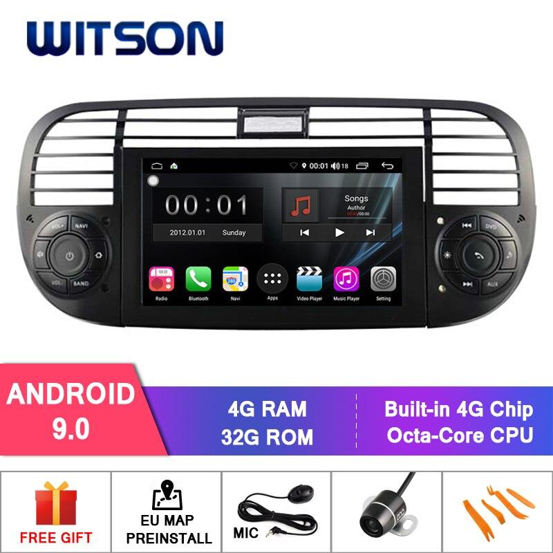 Witson s300 android 9.0 dvd do carro para fiat 500 8 octa núcleo 4 gb ram 32 gb flash gps estéreo automático + glonass wifi/4g dsp + dab obd + tpms