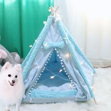 Lits portables pour chiens moyens   Animaux domestiques, tente, chiot, niche, maison, coussin lavable, tapis épais