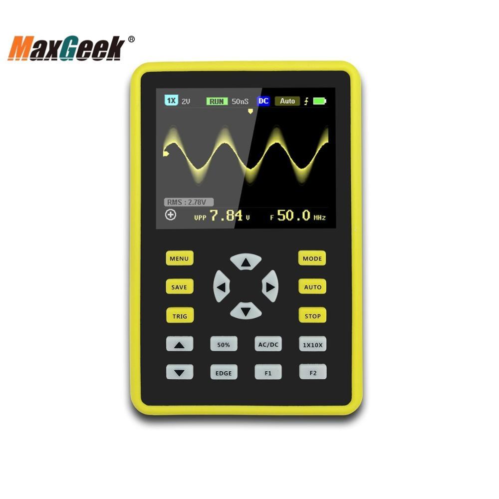"""ADS5012H портативный цифровой осциллограф 100 МГц 500MSa/s с 2,4 """"цветной TFT экран черный и желтый"""