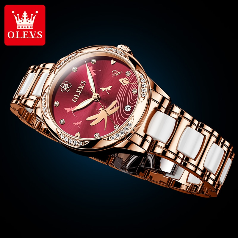 OLEVS Fashion Wine Red Dial Automatic Mechanical Watch Ladies Luxury Diamond Stainless Steel Ceramic Luminous Waterproof Watches enlarge