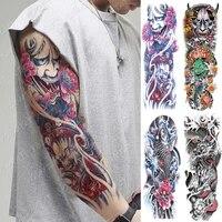 large arm sleeve tattoo japanese prajna carp dragon waterproof temporary tatto sticker god body art full fake tatoo women men