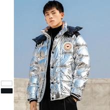 Hiver épaissir chaud manteau hommes décontracté Parkas Streetwear solide argent brillant hiver veste hommes appliques manteaux pour hommes avec à capuche