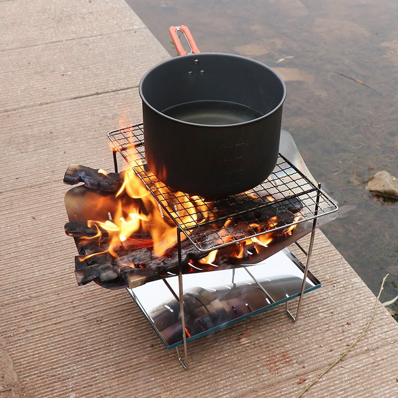 Ultralight Outdoor Portable Wood Stove Burner Multifunctional Folding Barbecue Charcoal Stove Barbecue Stove BBQ Grill