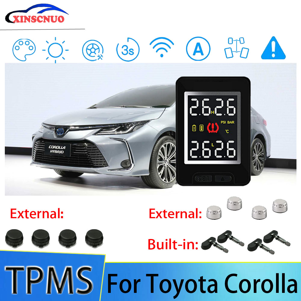 Smart Car TPMS Tire Pressure Monitor System For Toyota Corolla With 4 Sensors Wireless Alarm Systems
