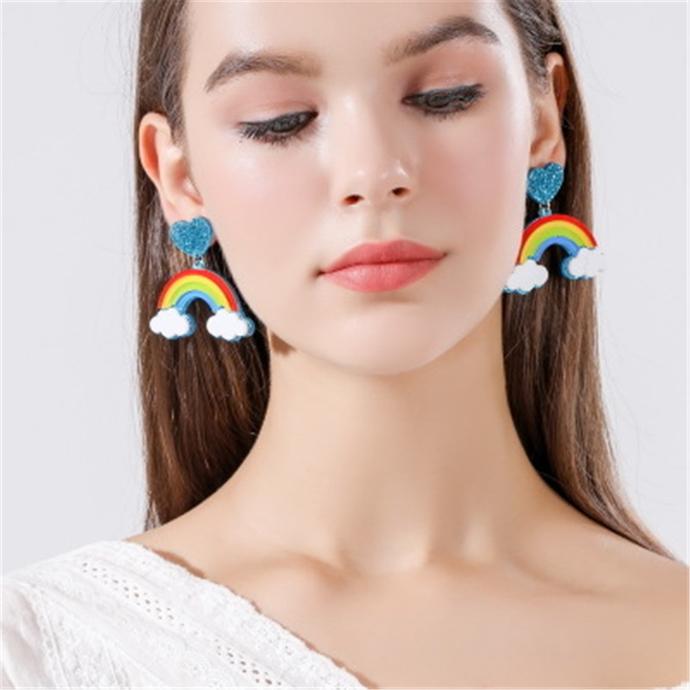 Women Drop Dangle Earrings Weird Big Long Punk Hip hop Cloud Rainbow серьгиc сережки Pendients Kolczyki ピアス Fashion Jewelry