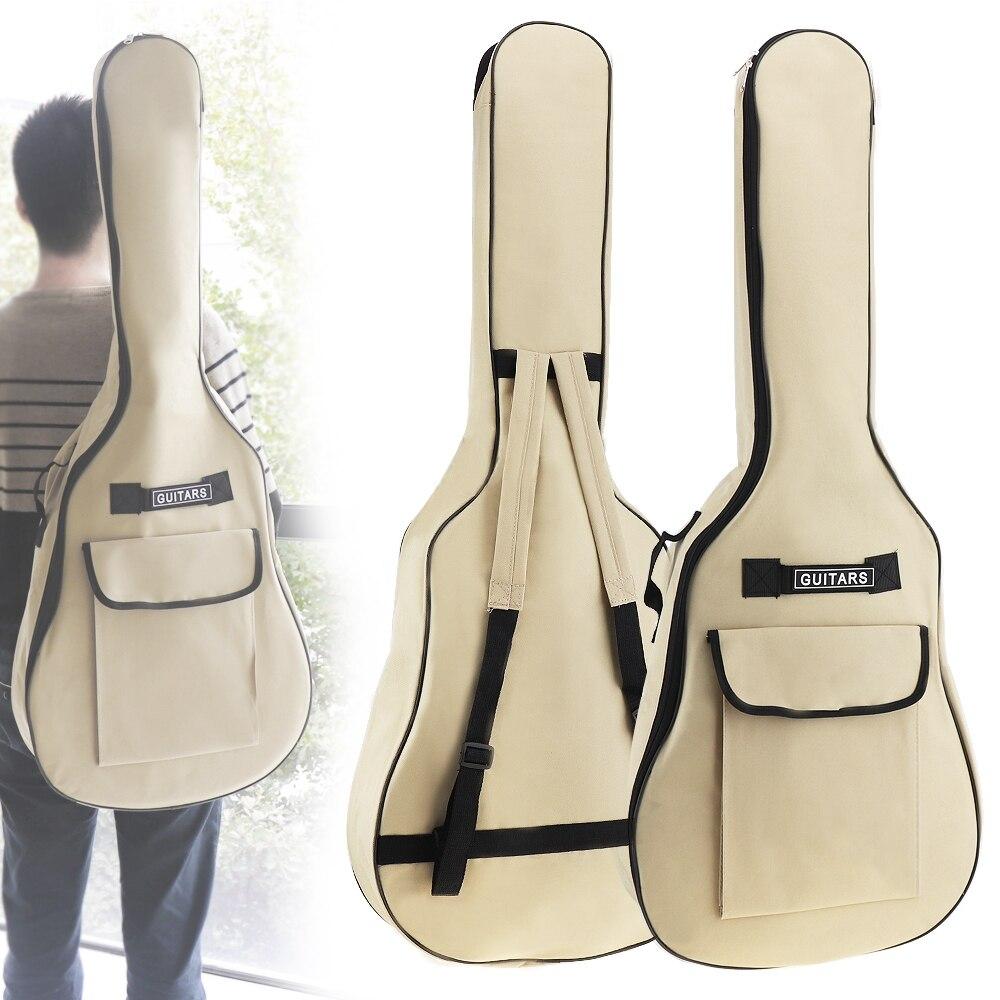Funda de guitarra folclórica acústica de tela Oxford de 40/41 pulgadas funda Gig Bag doble correas acolchado 5mm de algodón suave mochila impermeable