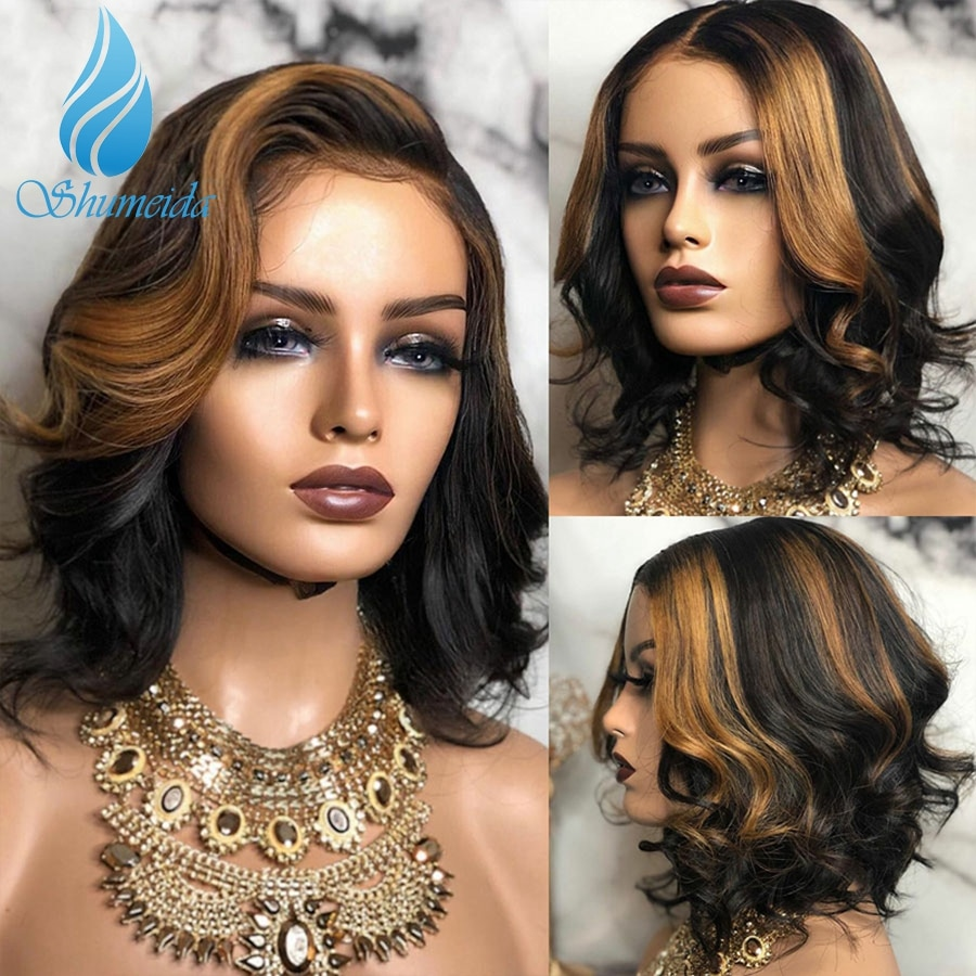Shumeida HighLight Color Lace Front Human Hair Wigs Cheap Brazilian Remy Hair Wave Short BoB Glueless Lace Wig with Baby Hair