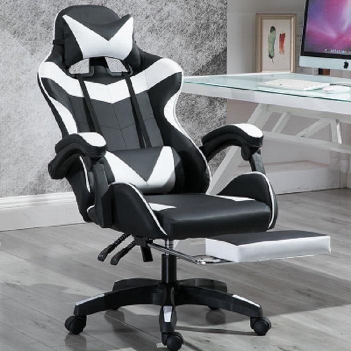 Silla de ordenador reposapiés estilo automovilístico ejecutivo moderno Silla de juego reclinable Espalda alta silla de oficina giratoria de cuero PU