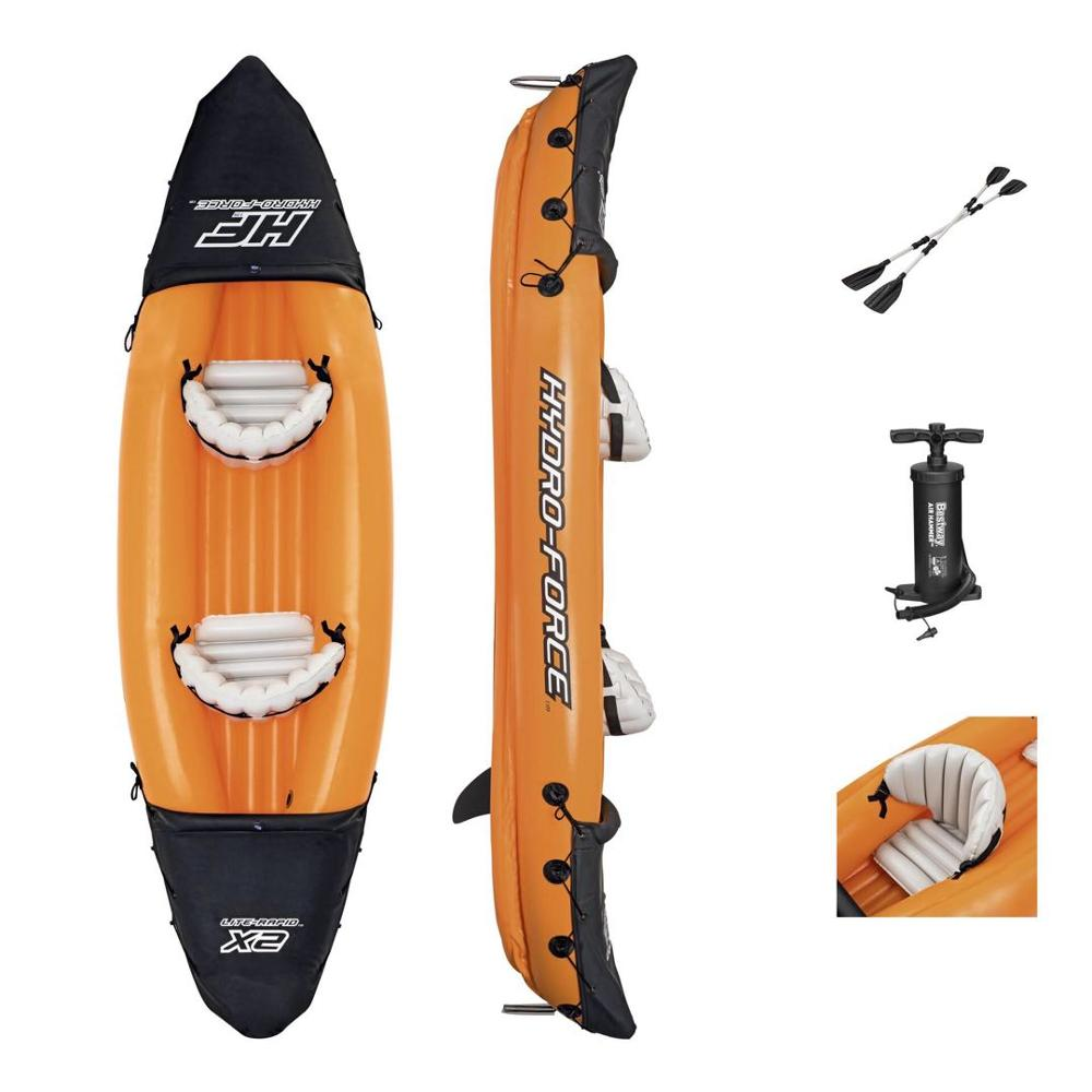 Inflatable Kayak Fishing Boat Portable Water Sport With Paddle Pump  And Bag For 2Persons Size 321X88CM Orange