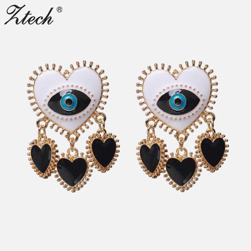 Ztech 레드/블랙 하트 시리즈 아이 귀걸이 트렌디 파티 귀걸이 한국 액세서리 gotic jewelry for women boho dangle earrings