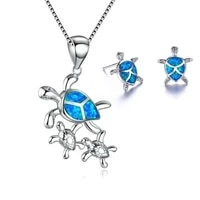 fashion cute turtle mother and turtle baby pendant necklace with earrings jewelry set for women accessories jewelry girl gift