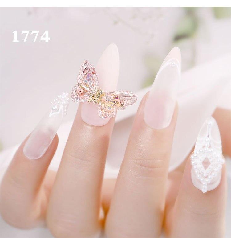 3D Butterfly Aurora Crystal Nail Decor Shiny Glitter Nail Jewelry Manicure DIY Art Shiny Flying Nail Zircon Manicure Accessories