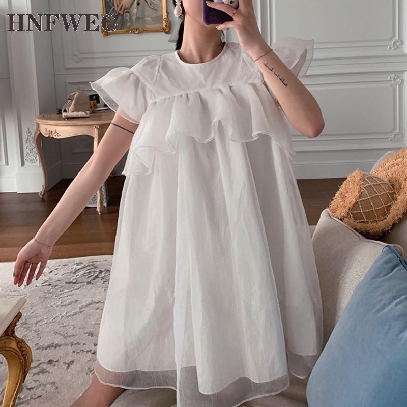 2020 cuello redondo flare mangas cortas de malla organza pullover Pantalones anchos mutli capa verano dulce vestido V471