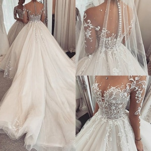Custom Made Illusion A-Line Bride Gowns Charming Lace Wedding Dress Sheer Long Sleeves Wedding Dresses