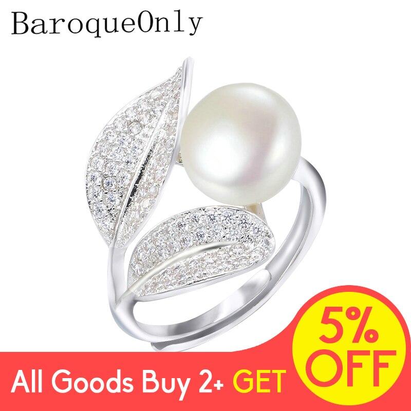Barokowy tylko romantyczny i błyszczący pierścionek w kształcie liści 9-10mm biały różowy niebieski fioletowy słodkowodny pierścionek z perłą najlepsza matka dzień prezent dla kobiety