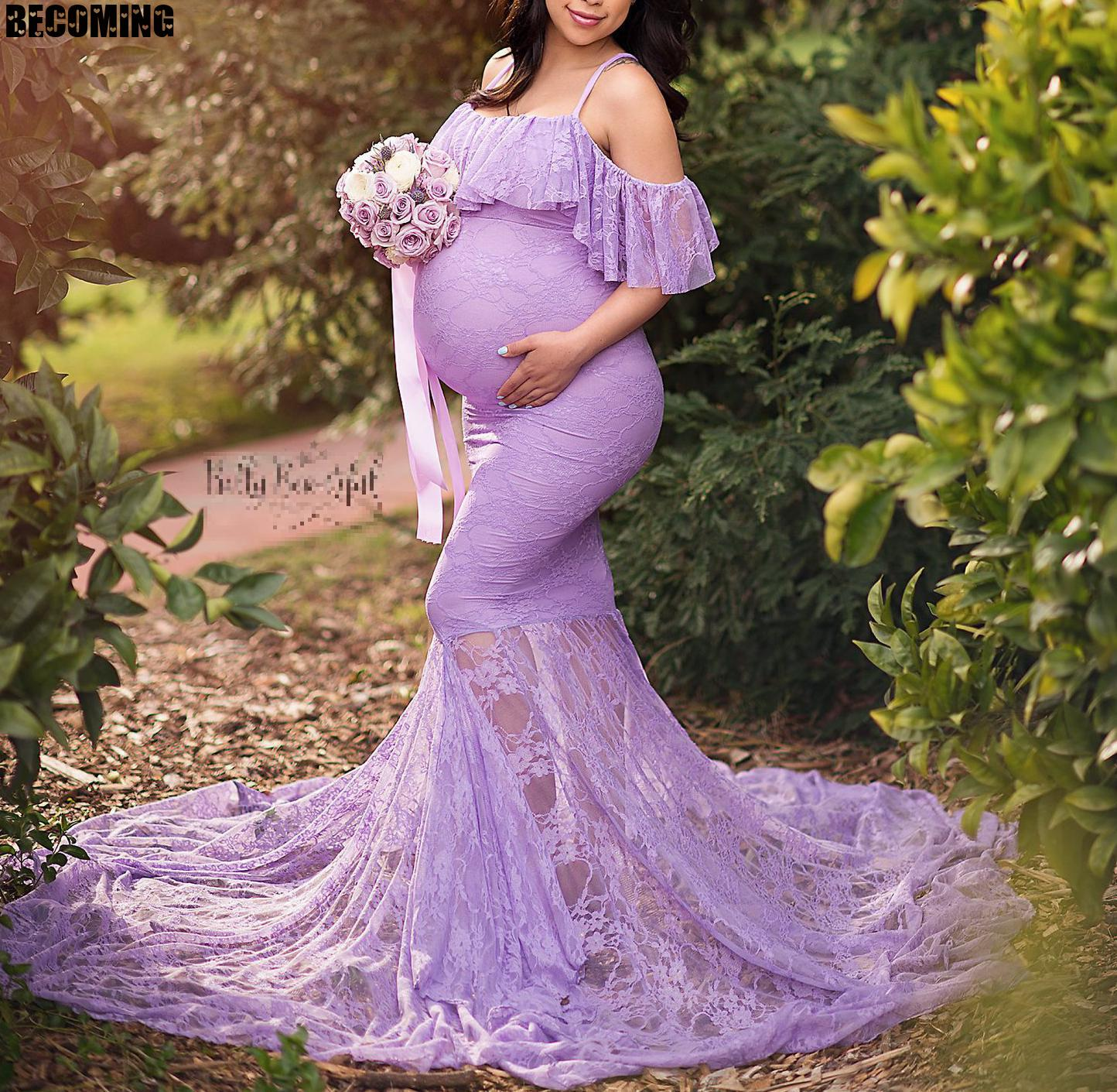 Maternity Dress Photo Shoot Lace Pregnancy Dress Women Maxi Clothes For Pregnancy Lady Big Maternity Gown Dress For Photography enlarge