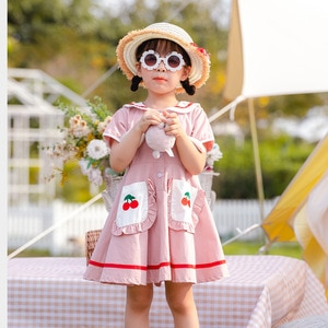 girls dress 2020 Cotton Doll Collar Navy style Cherry Embroidery dress girl Korean lovely dress Short Peter pan Collar dresses