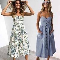 vintage casual sundress female beach dresses midi button backless polka dot striped women dress summer boho sexy floral dress