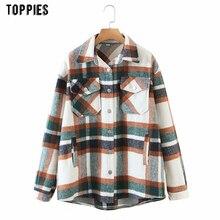 Toppies Vintage Plaid laine chemises veste femme hauts amples col rabattu chemises mode Streetwear
