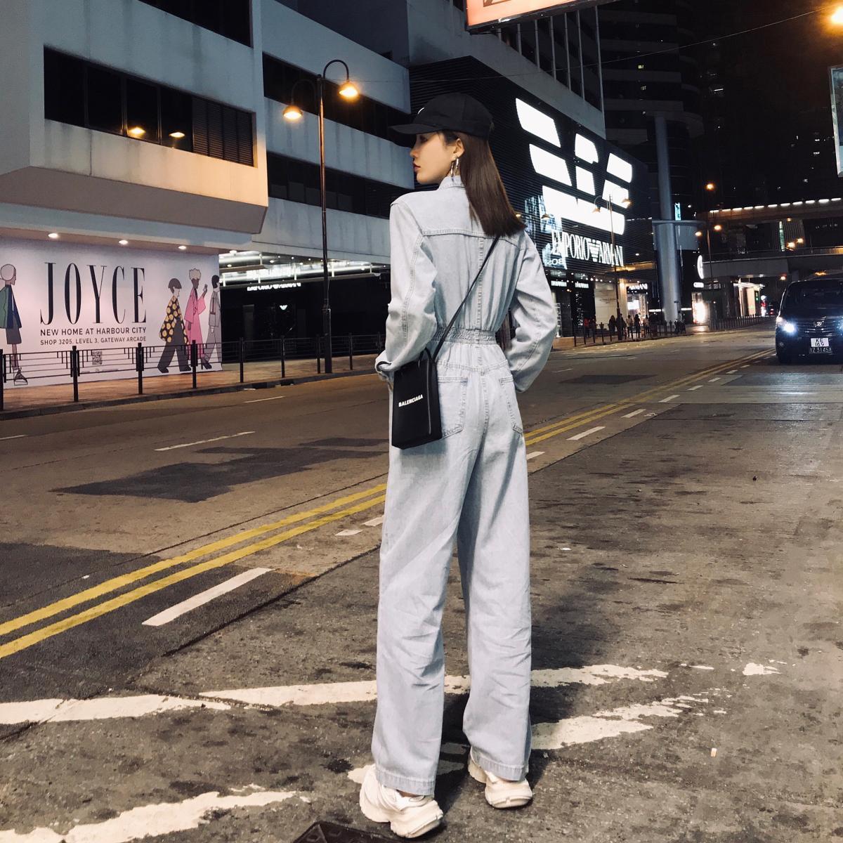 2021 new handsome work high waist denim jumpsuit women's loose straight jumpsuit enlarge