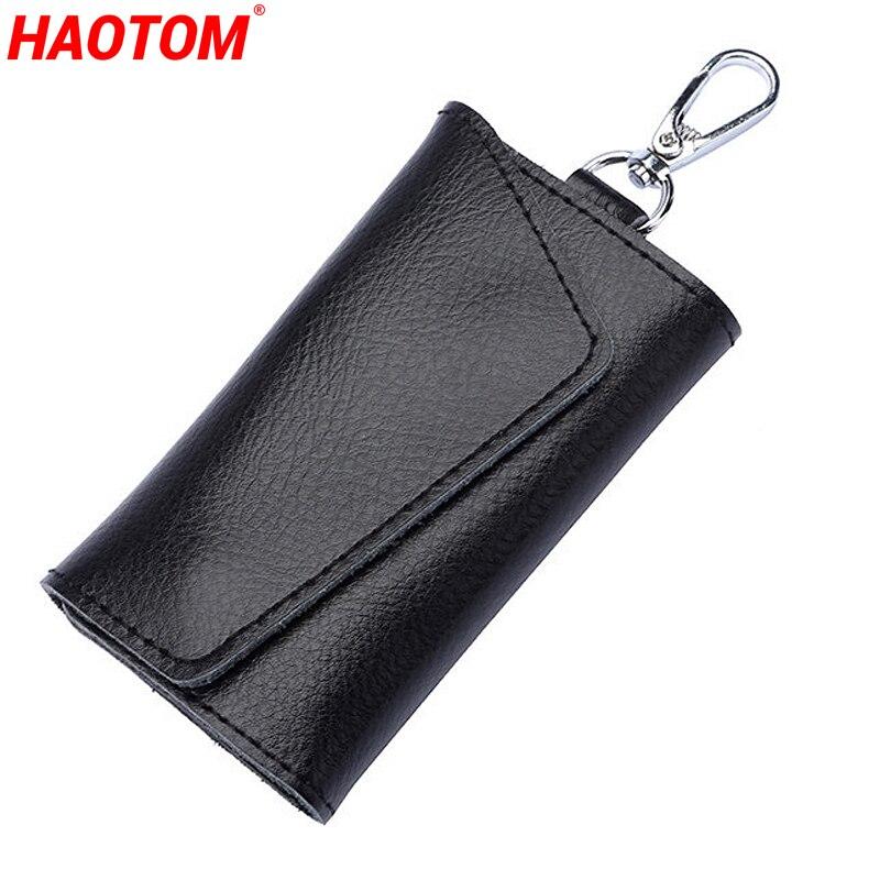 Car Key Wallet Housekeeper Key Case Mini Card Bag Genuine Leather Keychain Men Women Key Holder Orga