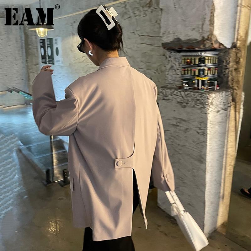 [EAM] سترة نسائية بمشبك خلفي مقاس كبير سترة جديدة فضفاضة بطية صدر وأكمام طويلة مناسبة للربيع والخريف 2021 1DE1431