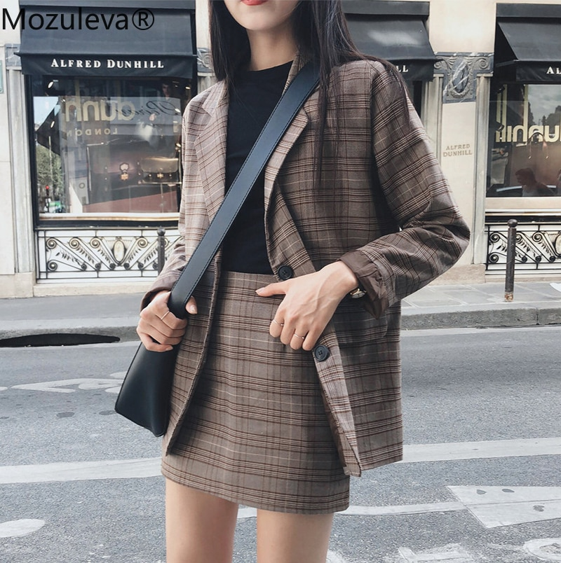 Mozuleva 2020 Retro Plaid Blazer Set Single-breasted Jacket & Pencil Skirt 2 Pieces Skirt Suit Femal