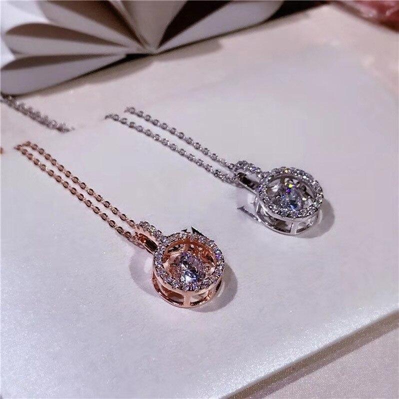 Collar con colgante de piedras preciosas redondas geométricas de plata 925 sólida de lujo para mujer, Gargantilla elegante, collares de cadena, joyería fina