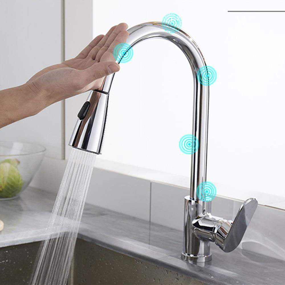 Robinets de capteur tactile intelligent pour évier de cuisine en laiton chromé Pullout robinet de mélangeur deau chaude et froide 2 Mode pulvérisateur 360 Rotation