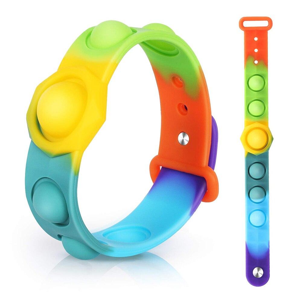 Decompression Bracelet Fidget Toys Press Bubble Stress Relief Sensory Toy Simple Dimple Wristband For Kids Fidget Vent Toys
