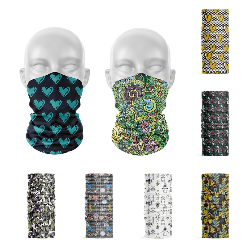 New Fashion 3D Printed Face Bandana Men Women Headscarf Outdoor Sports Hip-Hop Dustproof Hijab Scarf Headdress Elastic Headband