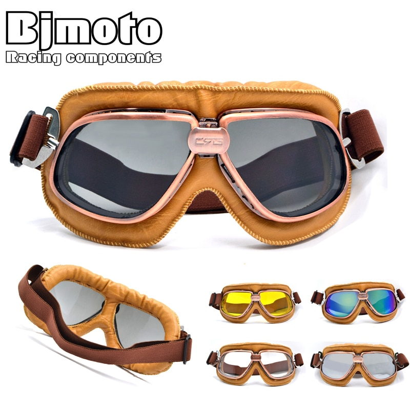 Vintage Motorcycle Motocross Goggles Pilot Motorbike MX flying Goggles leather Glasses atv Retro Helmet For Cycling Pit bike vintage motorcycle motocross goggles pilot motorbike mx flying goggles leather glasses atv retro helmet for cycling pit bike