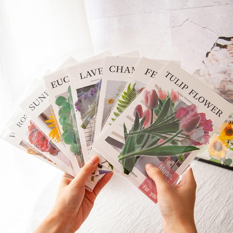 8-fogli-pacco-girasole-rosa-fiori-adesivi-scrapbooking-a-tema-etichetta-diario-cartoleria-album-adesivi