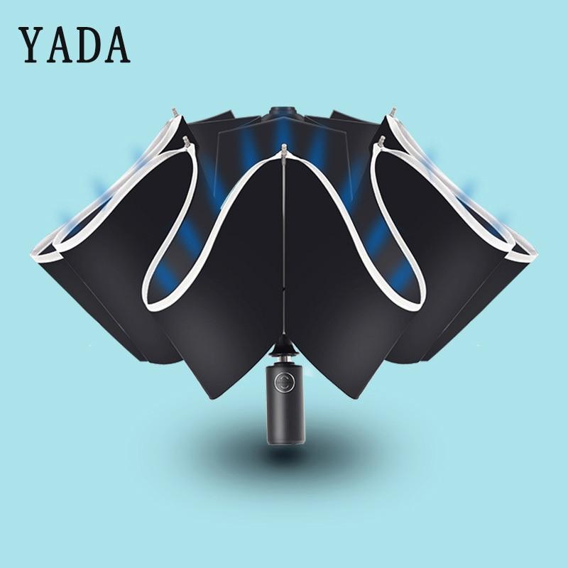 YADA 2019 rayas reflectantes paraguas plegable automático lluvia paraguas reverso para Mujeres Hombres UV raya invertida paraguas YD296