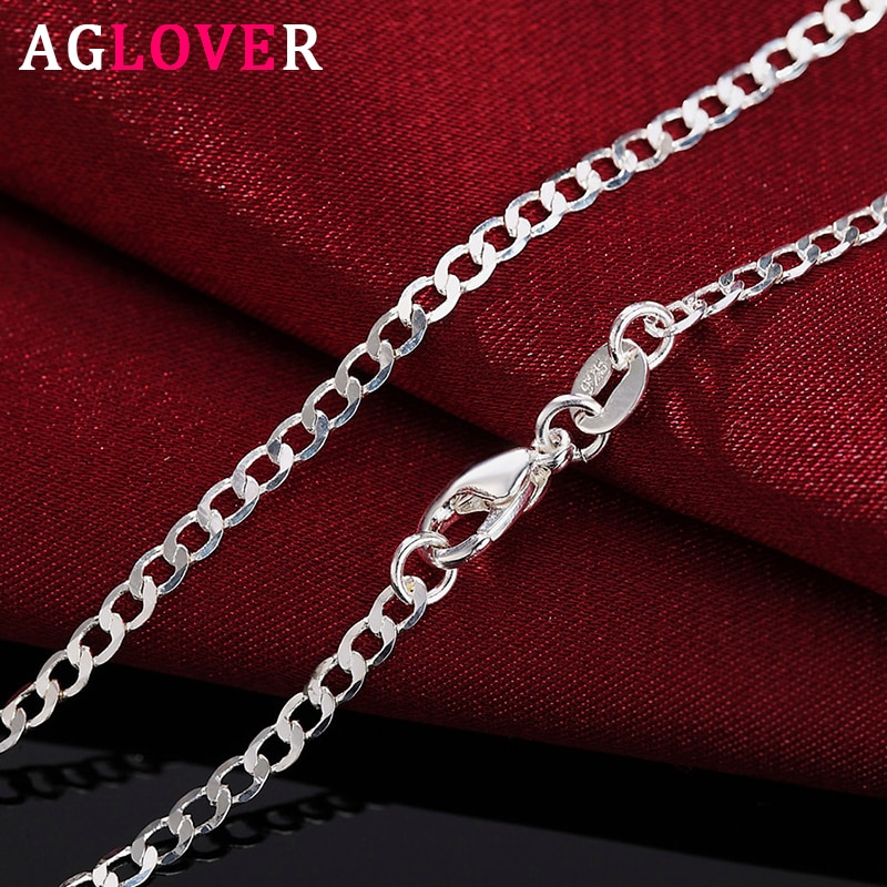 AGLOVER New 925 Sterling Silver 16/18/20/22/24/26/28/30 Inch 2mm Side Chain Necklace For Woman Man F