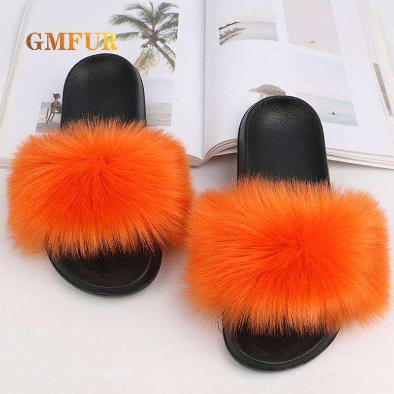 Ladies Faux Fur Slippers EVA Sole Women Slides Indoor Home Platform Flip-Flops Outdoor Beach Shoes L