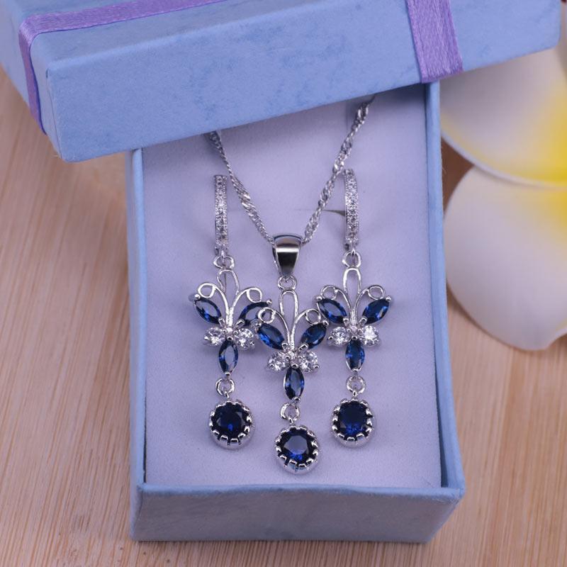 Precio de fábrica mariposa color plata 925 sello azul cúbico conjunto de joyas de circón pendientes collar conjunto mejor regalo de Navidad
