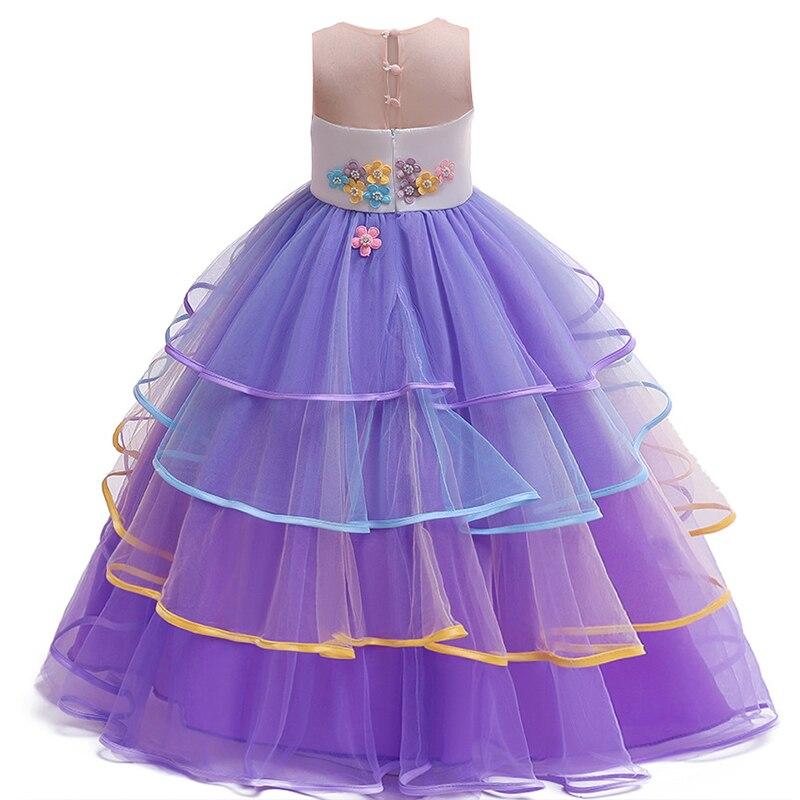 Unicorn Dress Rainbow Kids Dresses For Girl Colorful Mesh Princess Tutu Dress Festival Performance Dress Baby Kids Clothes