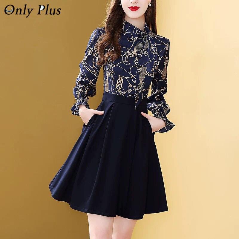 فقط زائد Vintage المطبوعة 2 قطعة مجموعة المرأة بلوزة أنيقة الربيع أسود ألف خط فستان تنورة البوهيمي ضئيلة أنيقة