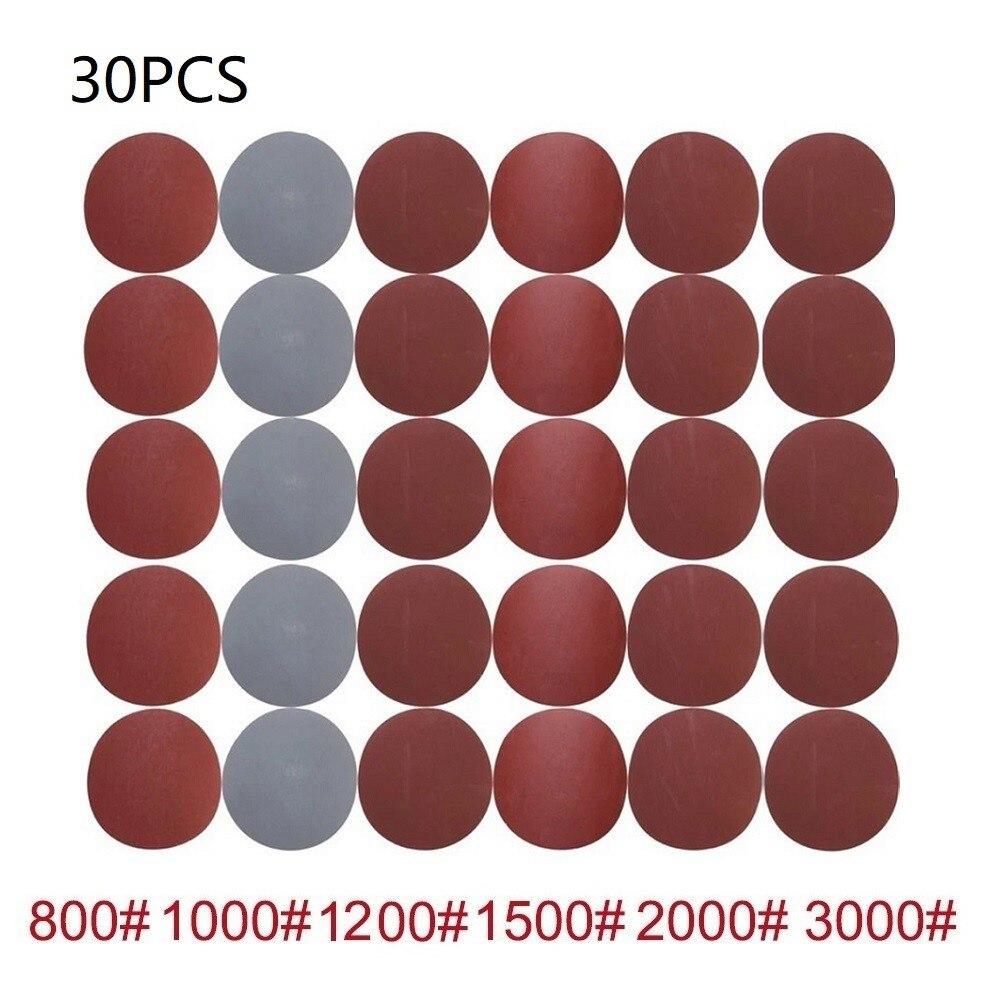 Круглые шлифовальные диски с крючком и петлей, 5 дюймов, 125 мм, 30 шт., зернистость 800-3000 для шлифовки и полировки мебели и дерева