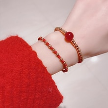 Lucky Beads Red Rope Bracelet Fashion Personality All-Match Birth Year Hand-Woven Red Rope Bracelet