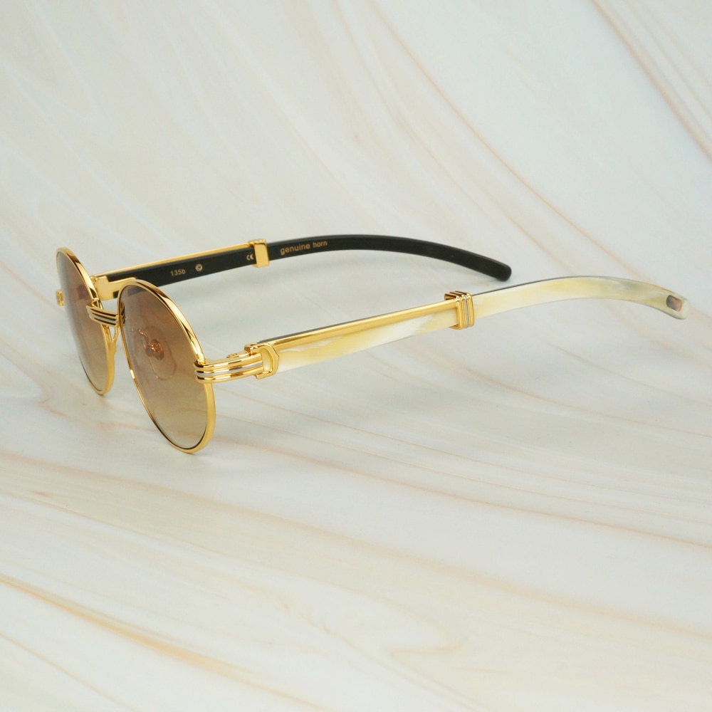 Gafas de sol de cuerno de búfalo ovalado a la moda Carter, gafas de lectura de lujo para hombre, gafas de sol Estilo Vintage de cuerno de Búfalo, gafas de sol decorativas, Marcos