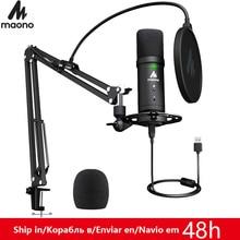 MAONO PM401 USB micro ensemble 192KHz/24Bit Microfone professionnel cardioïde condensateur Podcast micro avec bouton muet et prise Audio