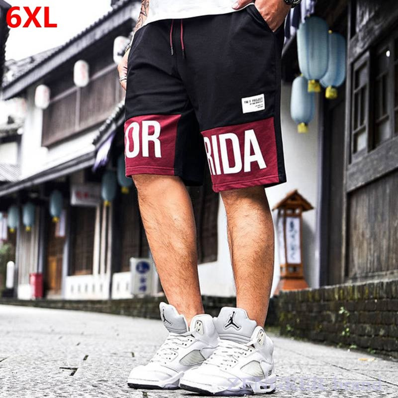 Verano costura de talla grande shorts negro de talla grande para hombres nueva moda marea marca menswear 6XL 5XL 4XL streetwear pantalones cortos de hip hop
