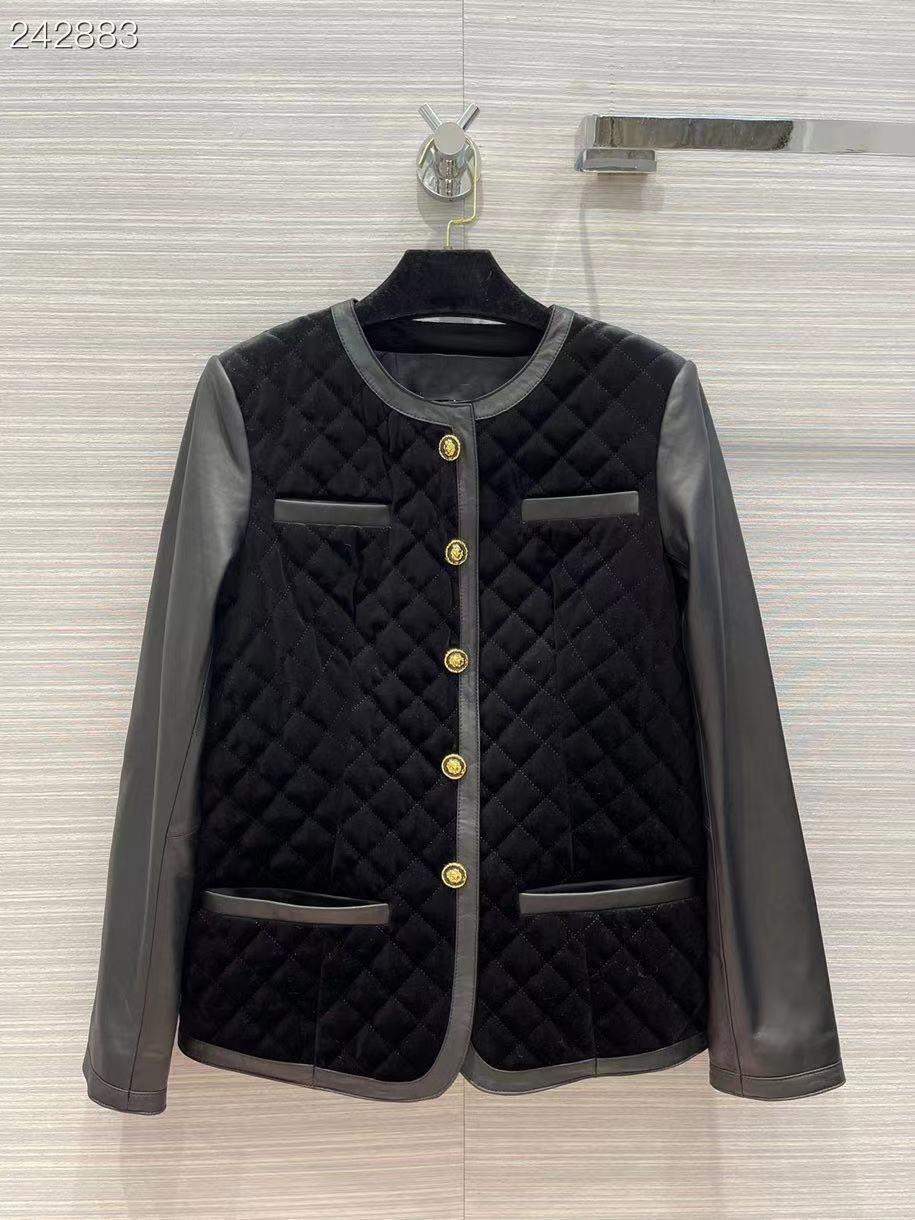 Fyion النساء سترة جلدية حقيقية معطف س الرقبة واحدة الصدر خليط دراجة نارية غير رسمية الأسود الشرير ملابس خارجية